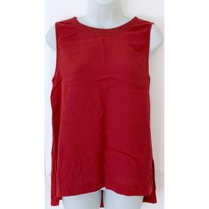 Madewell Red Sleeveless Side Slit Zip Up Back Tank
